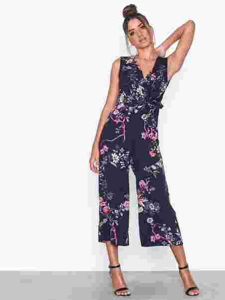 b430b158e90fde Flower Jumpsuit - Ax Paris - Navy - Jumpsuits - Clothing - Women ...