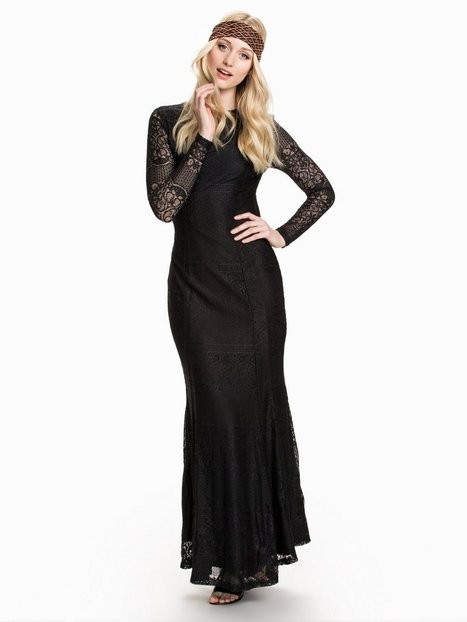 Club L LS Open Back Lace Maxi Dress Maxiklänningar Svart thumbnail