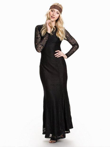 Billede af Club L LS Open Back Lace Maxi Dress Maxikjole Sort