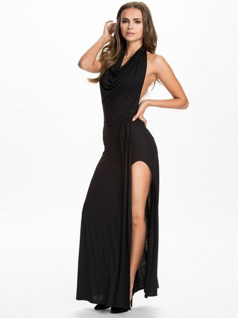 Cowl Neck Side Boob Split Dress