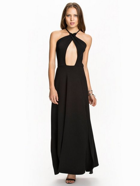 Club L Cross Over Neck Maxi Dress Maxiklänningar Svart thumbnail