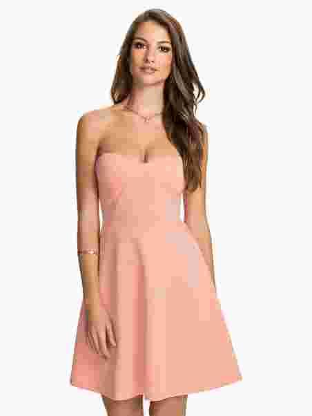 Flower Strap Cup Skater Dress - Club L - Nude Pink - Juhlamekot ... e5c688d337