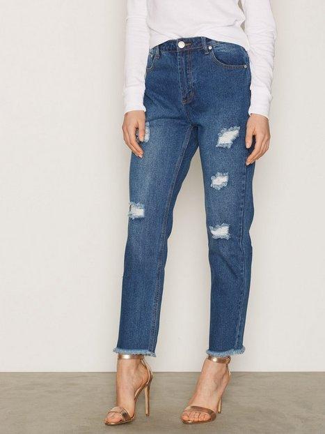 Billede af Glamorous Ripped Jeans Straight Mid Blue
