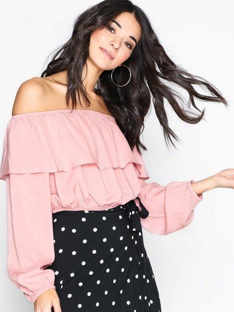 Billede af Glamorous Crinkle Off Shoulder Top Langærmede toppe Pink
