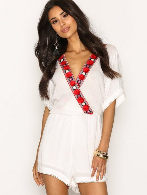 Billede af Glamorous Embroidered Detail Top Playsuits White