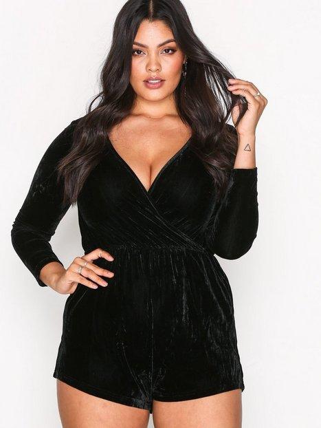Billede af Glamorous Long Sleeve Wrap Playsuit Playsuits Black