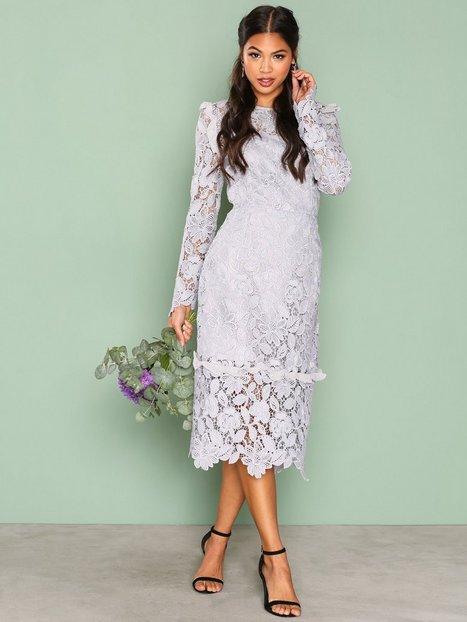 Billede af True Decadence Lace Longsleeve Dress Kropsnære kjoler Light Grey