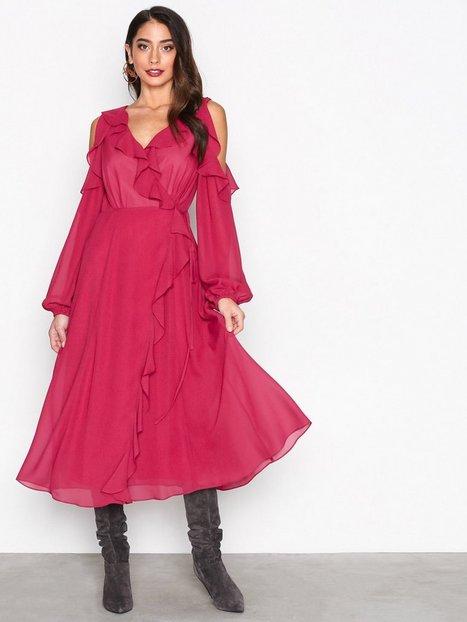 Billede af True Decadence Cold Shoulder LS Frill Dress Kropsnære kjoler Burgundy