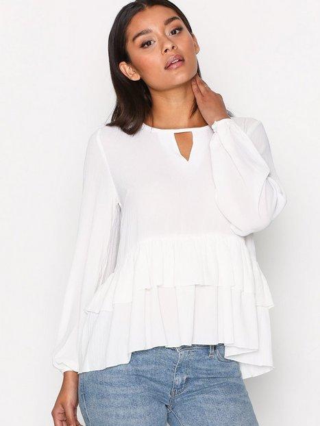 Billede af Glamorous Long Sleeve Frill Blouse Festbluse White
