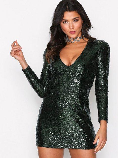 Billede af Glamorous Sequin Party Dress Pailletkjoler Dark Green