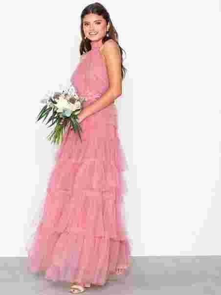 bf17efded950 Frill Mesh Dress - True Decadence - Dark Pink - Festkjoler - Tøj ...