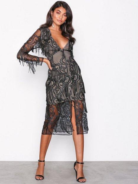 Billede af True Decadence Black Lace Dress Pailletkjoler