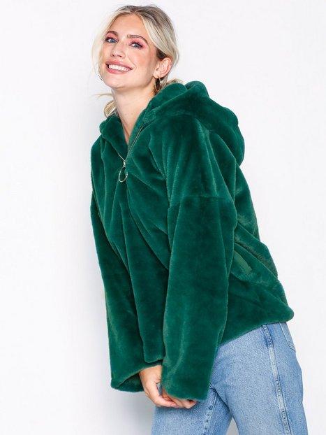 Billede af Glamorous Zip Hooded Jacket Faux Fur Green