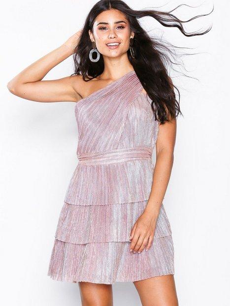 Billede af Glamorous One Shoulder Frill Dress Loose fit Metallic Pink