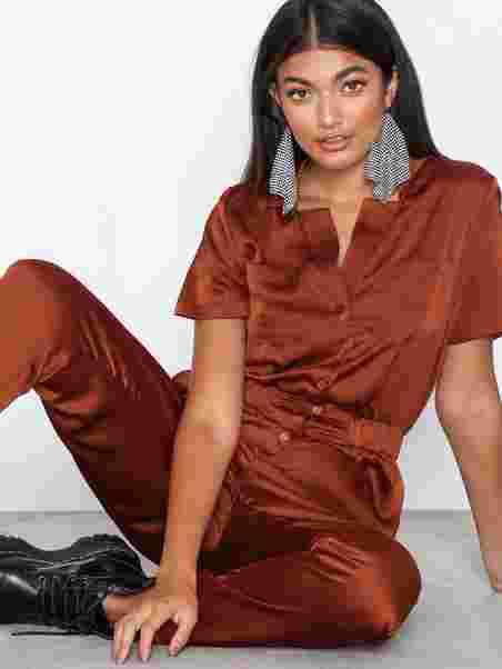 e82f1e236b1 Satin Utility Jumpsuit - Glamorous - Rust - Jumpsuits - Clothing ...