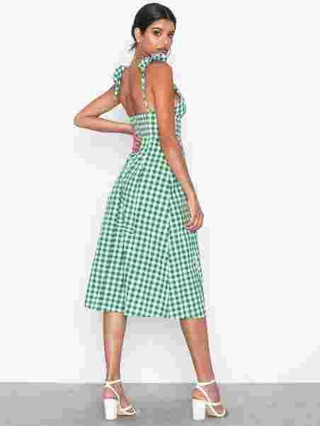 f395a491 Gingham Dress - Glamorous - White/Green - Kjoler - Klær - Kvinne ...
