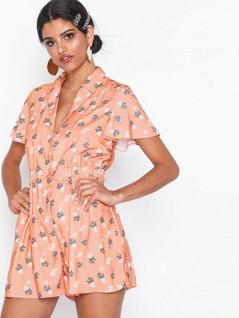 Billede af Glamorous Peach Floral Short Sleeve Dress Playsuits