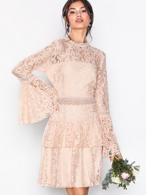 Billede af U Collection Dreamy Lace Dress Tætsiddende kjoler Light Beige