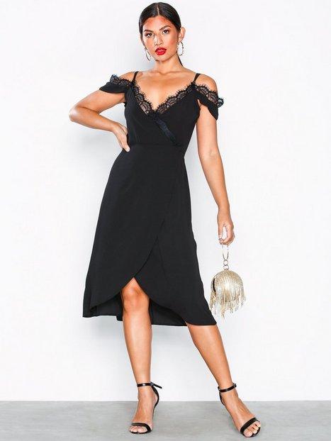 Billede af U Collection Cold Shoulder Midi Dress Skater kjoler Black