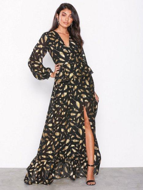 Billede af Forever Unique Feather Long Sleeve Dress Maxikjoler Black/Gold