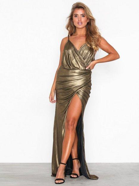 Billede af U Collection Gold Metallic Long Sleeve Dress Maxikjoler