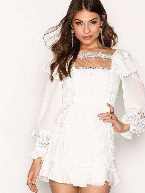 Billede af For Love & Lemons Crema Silk Linen Dress Kropsnære kjoler White