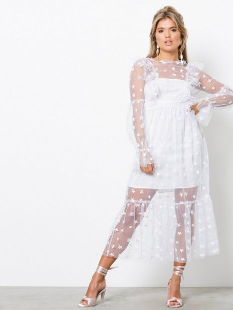 Billede af For Love & Lemons Claudia Ruffle Midi Tulle Loose fit dresses White
