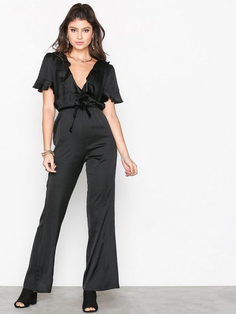 Billede af For Love & Lemons Bette Open Back Romper Jumpsuits Black