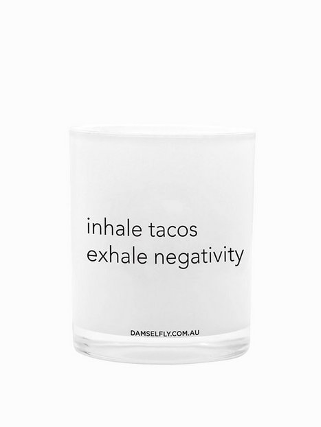 Billede af Damselfly Candles Inhale Tacos, Exhale Negativity Duftlys White