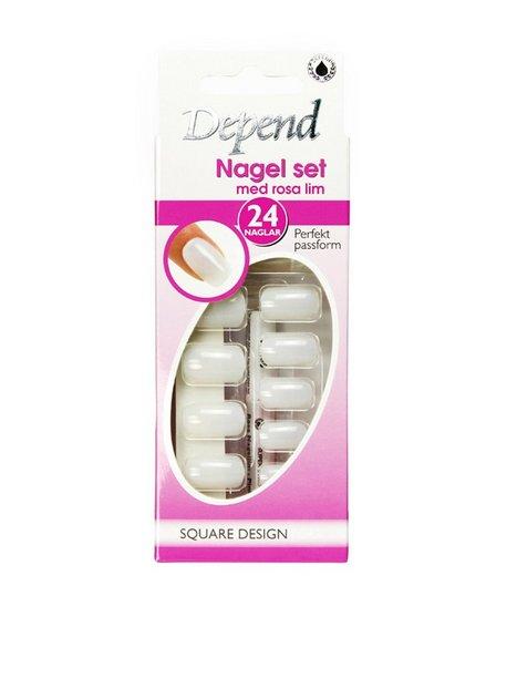 Billede af Depend Nail Kit - Square Design Long Model Kunstige negle Rosa/Lyserød