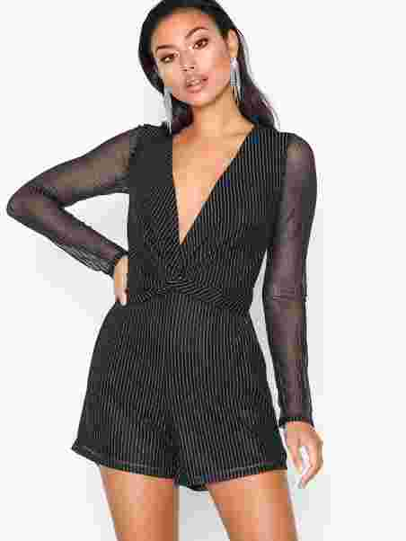 7c5a068f758 Knot Lurex Playsuit - Nly Trend - Black - Jumpsuits - Clothing ...