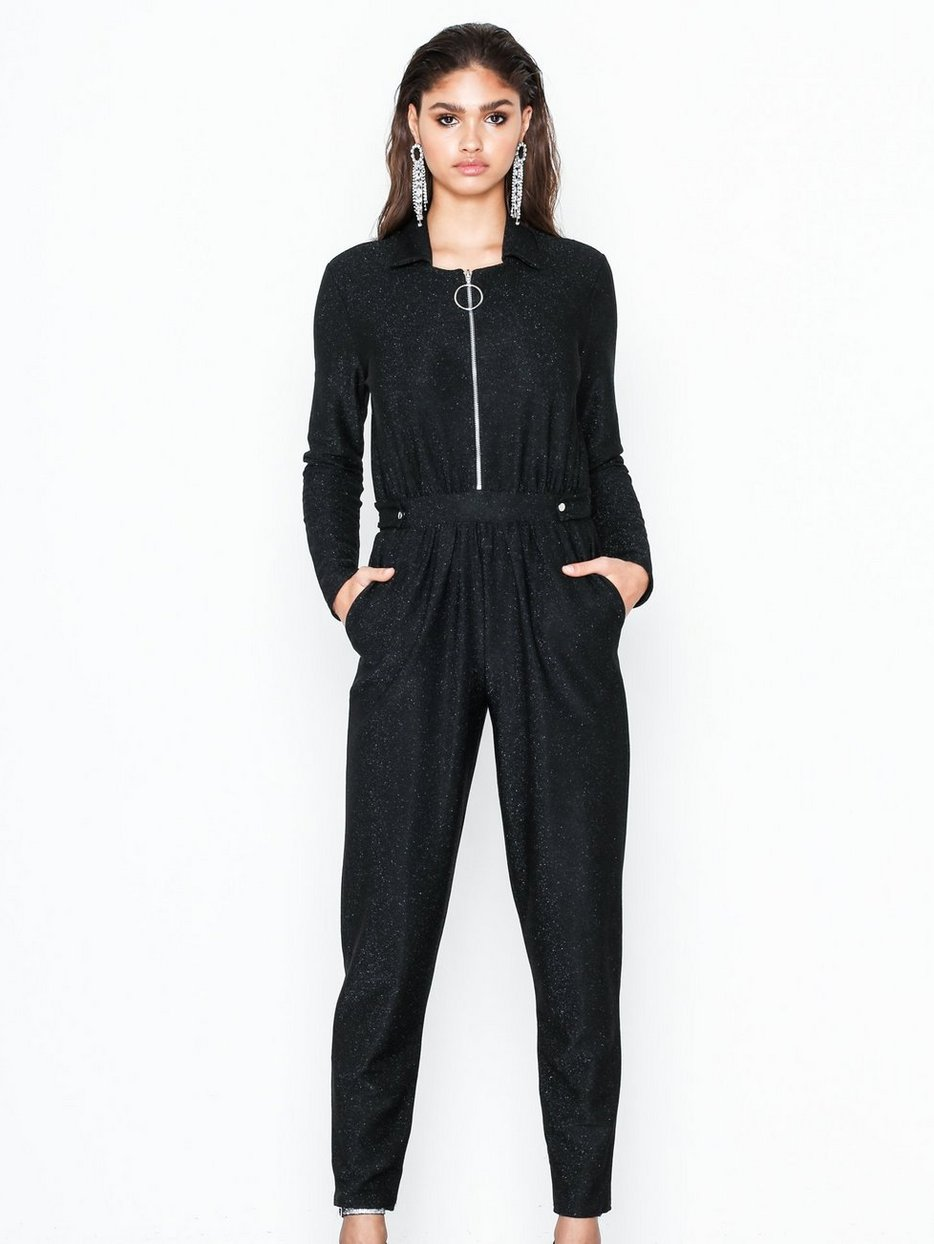 Lurex Boilersuit Nly Trend Black Jumpsuits Clothing Women