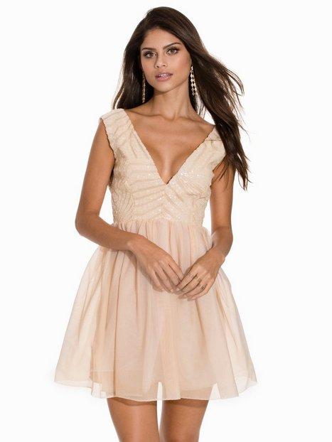 Contrast V-Neck Dress