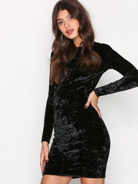 NLY Trend Crushed Velvet Mini Dress Kotelomekot Musta thumbnail