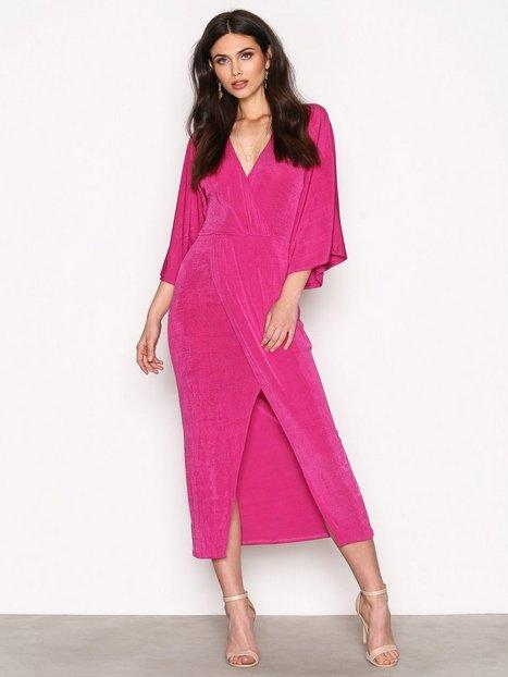 NLY Trend Kimono Wrap Dress Maksimekot Fuchsia thumbnail