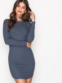 Kjoler, Wide Rib Round Neck Dress, NLY Trend - NELLY.COM