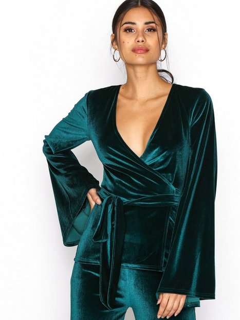 Wide Velvet Wrap Top