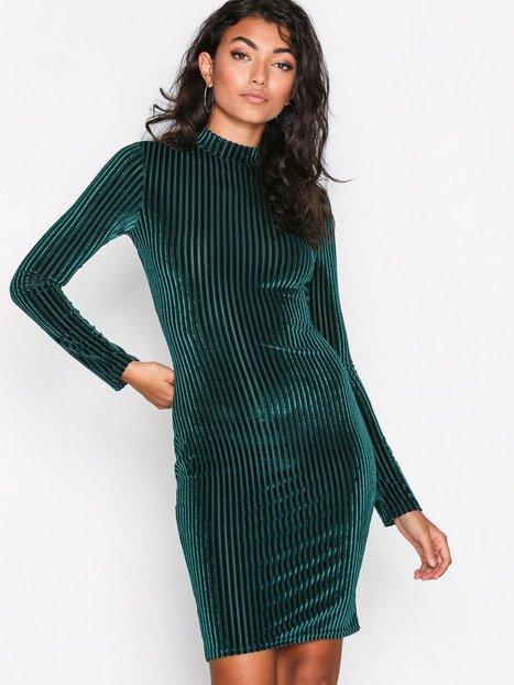 NLY Trend Velvet Rib Mini Dress Kotelomekot Vihreä thumbnail