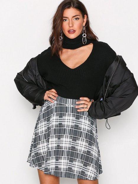 NLY Trend Printed Skater Skirt Midihameet Harmaakuviollinen thumbnail
