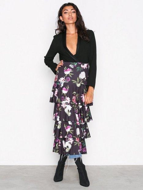 Layered Print Midi Skirt