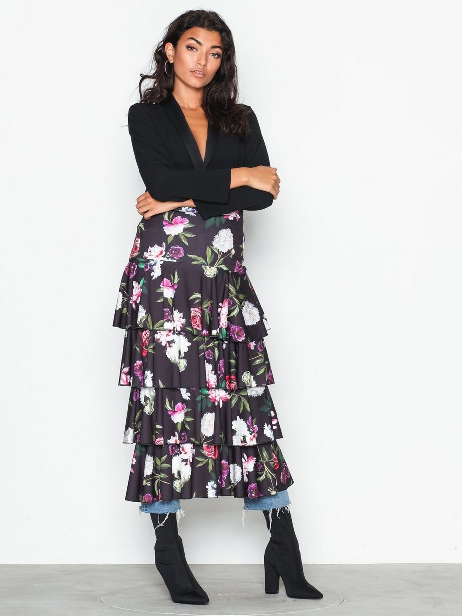 cc1a40a8fc Layered Print Midi Skirt - Nly Trend - Black - Skirts - Clothing ...