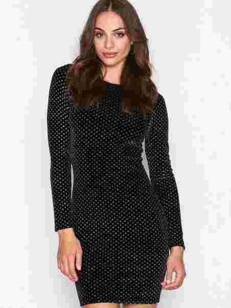 10ba7e28 Sparkle Dot Velvet Dress - Nly Trend - Black - Party Dresses ...