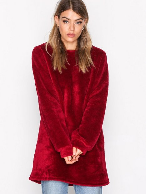 NLY Trend Faux Fur Fluffy Sweat Sweatshirts Burgundy thumbnail