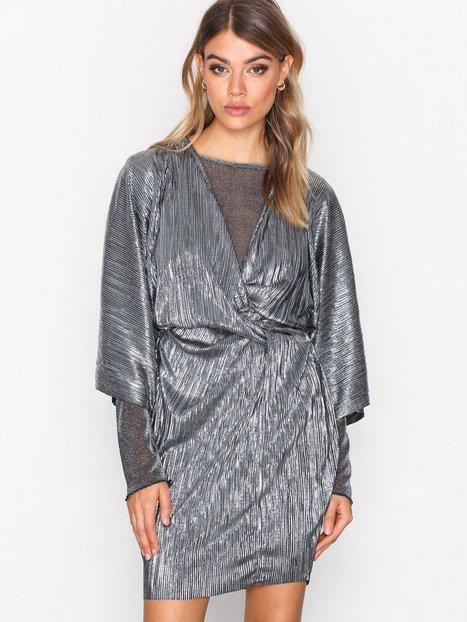 Knot Pleat Metallic Dress