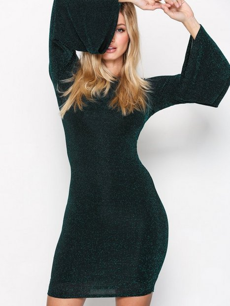 NLY Trend Wide Sleeve Sparkle Dress Kotelomekot Vihreä thumbnail