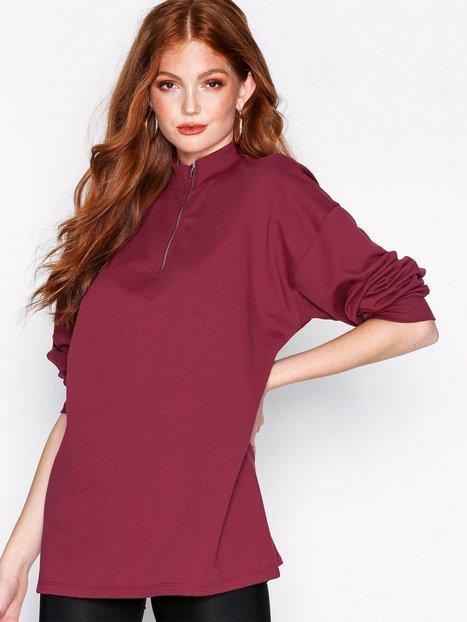Billede af NLY Trend Oversize Zip Sweat Lynlås trøjer Rød
