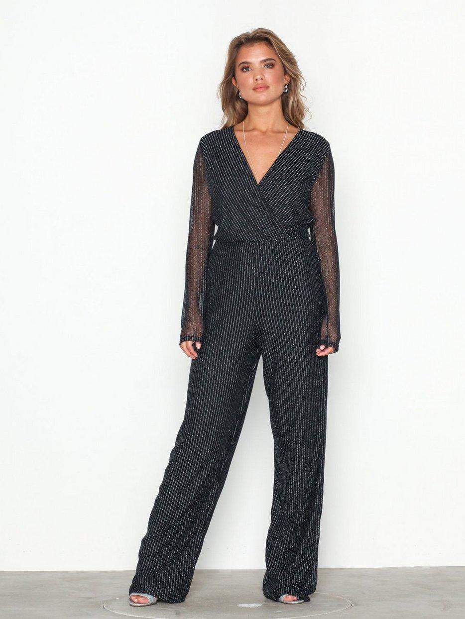 Lurex Mesh Jumpsuit Nly Trend Blacksilver Jumpsuits