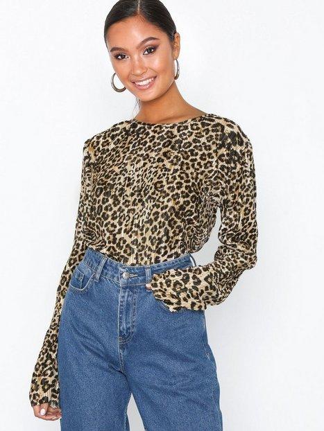 NLY Trend Plissé Leo Top Langærmede toppe Leopard
