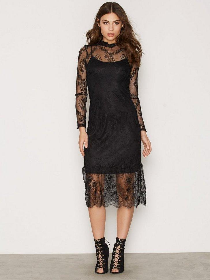 VMYES LACE L S CALF DRESS V køb festkjole