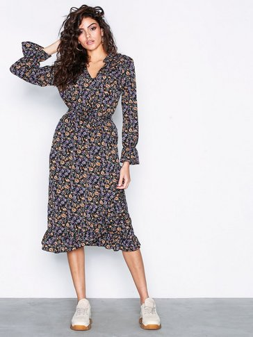 Only - onlKAM L/S V-NECK DRESS WVN